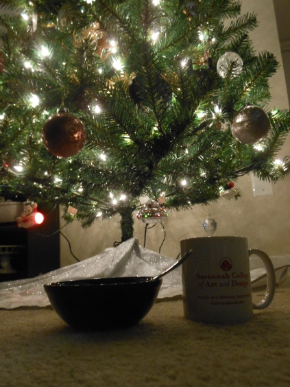 To fully appreciate the time having the tree up, while all was quiet and dark, I'd have my oatmeal and coffee in the morning sitting on the floor, and take in the beauty of the lights and ornaments.