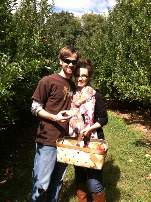 David and B Apple Picking