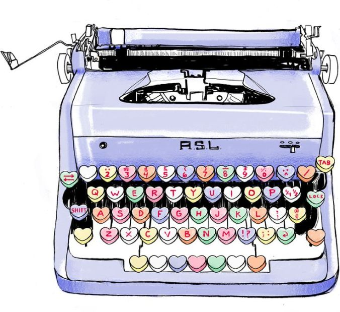 conversation heart typewriter