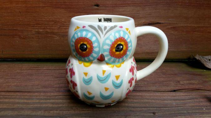 Be Happy Owl Mug brandie-sellers.com